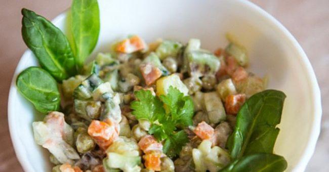 вегетарианский оливье очень вкусный салат